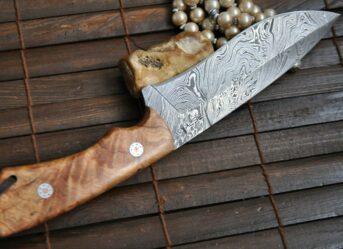 HANDMADE DAMASCUS HUNTING KNIFE & LEATHER SHEATH - WBC120