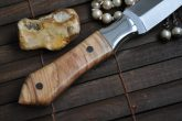 Handmade Double Edge Hunting Knife with Leather Sheath