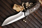 HANDMADE HUNTING KNIFE 440C STEEL , BURL WOOD & DAMASCUS BOLSTER