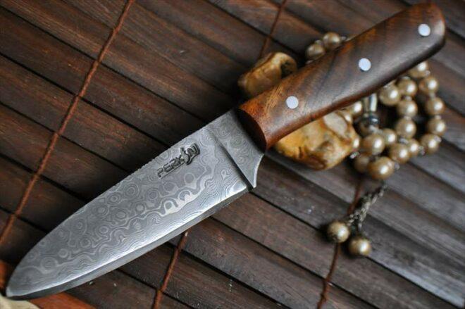 Handmade Hunting Knife Damascus Steel & burl Wood