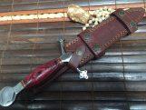 HANDMADE HUNTING KNIFE DOUBLE EDGE BLADE WITH LEATHER SHEATH-KLI