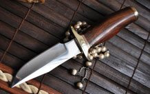 BIG SALE - HANDMADE DAMASCUS HUNTING KNIFE- DOUBLE EDGE & BUFFALO HORN HANDLE