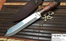 CUSTOM MADE DAMASCUS FOLDING KNIFE RAM'S HORN HANDLE- PERKINS ENGLISH HANDMADE KNIVES
