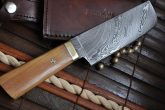 Damascus Chef Knife with Pear wood & Mosaic Pin Handle