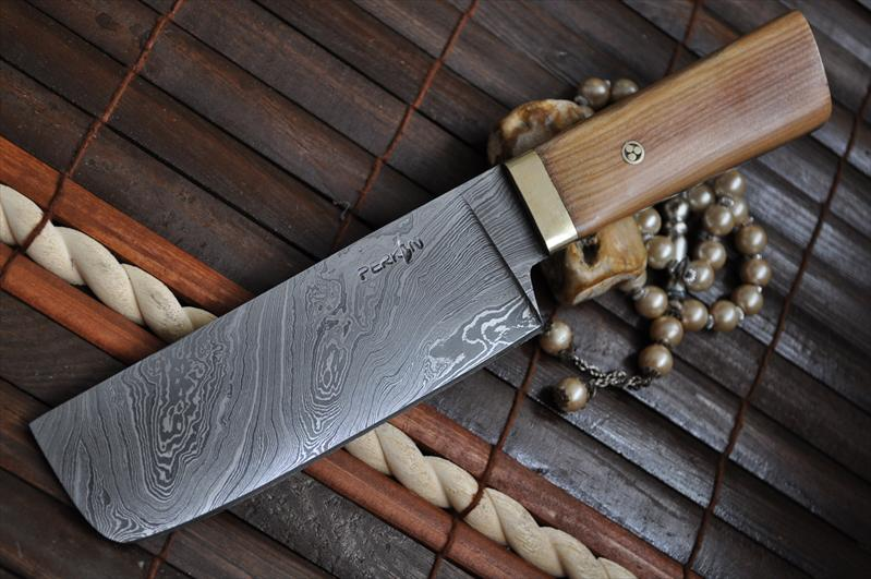 Damascus Chef Knife With Pear Wood Amp Mosaic Pin Handle