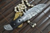 OUTSTANDING VALUE - HANDMADE DAMASCUS HUNTING KNIFE WITH ELEATHER SHEATH - SMP3
