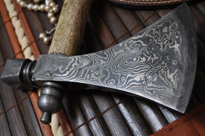 Custom Made Tomahawk Axe, Hatchet with Walnut Haft & Brass Carving