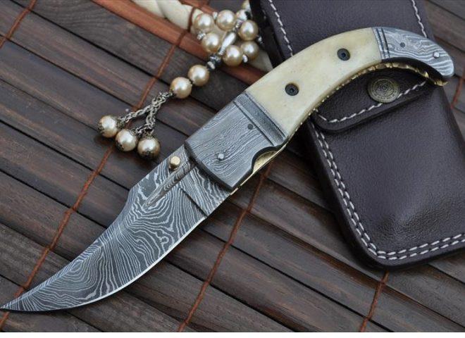 Damascus Folding Knife with Camel Bone & Damascus Handle
