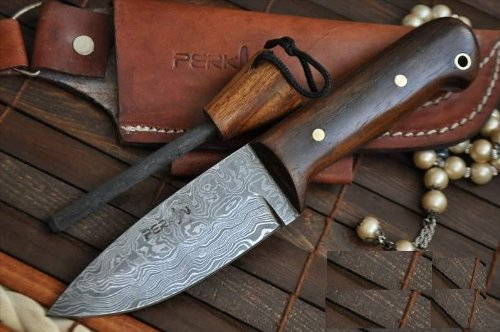 Custom Handmade Damascus Hunting Knife with Sheath and Sharpener