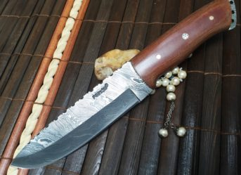Handmade Damascus Hunting Knife with Sheath