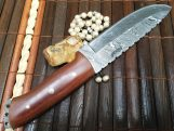 Handmade Damascus Hunting Knife with Leather Sheath