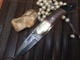 Folding hunting knife with sheath Damascus steel knife
