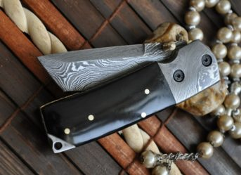 Custom Made Damascus Folding Knife Tanto Blade & Buffalo Horn Handle