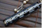Custom Made Damascus Folding Knife Buffalo Horn & Mosaic Pins Handle- An Art By Koobi