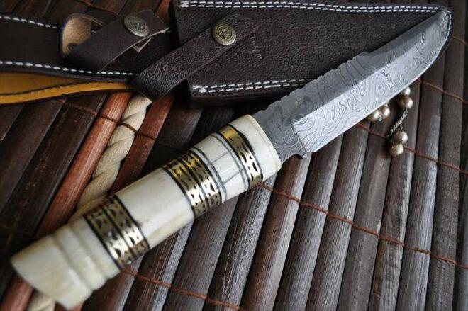 Custom Damascus Bowie Knife with Bone Handle & Sheath