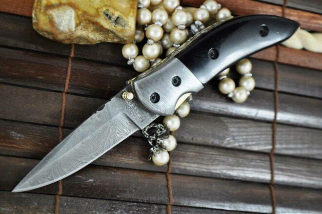 Handmade Damascus Folding Knife - Pocket Knife with Liner Lock