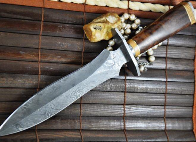 Handmade Damascus Hunting Knife - Double Edge Blade - Beautiful Workmanship
