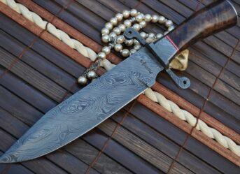 Handmade Damascus Hunting Knife - Beautiful Bowie Knife