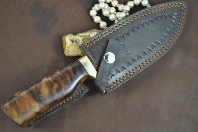 Custom Handmade Damascus Hunting Bowie Knife With Sheath