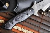 Handmade Bowie Knife - Full tang, Root & Damascus Steel - WH-HT