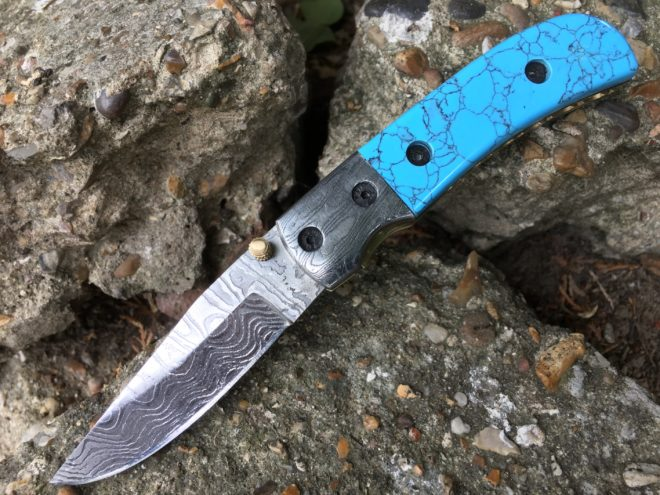 Folding hunting knife Stainless Damascus steel and turquoise handle