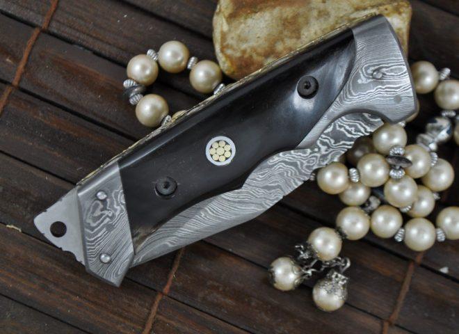 Custom made All Damascus Pocket Knife Horn handle -By Koobi- For camping and Bushcraft
