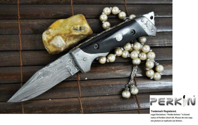 Custom made All Damascus Pocket Knife with Horn handle - By Koobi