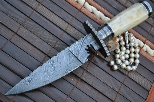 Damascus Steel Bowie Knife with Leather Sheath