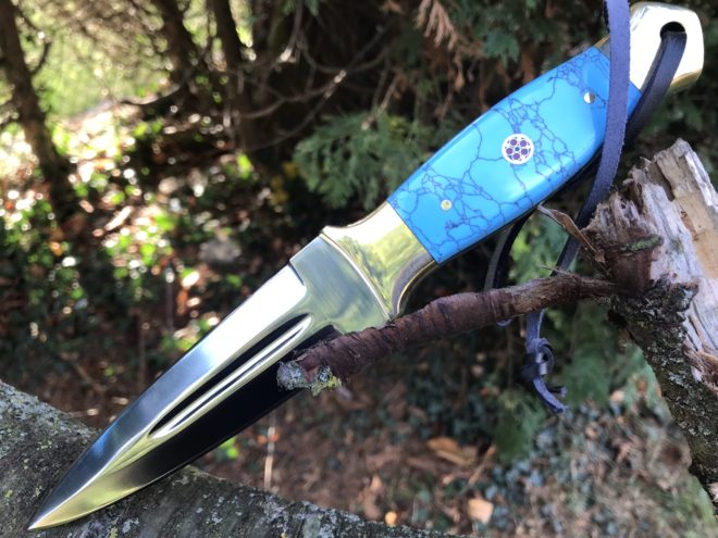 Hunting knife fixed blade with leather sheath handmade