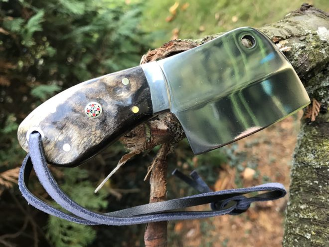 Small Bushcraft Cleaver Knife with Sheep's horn handle