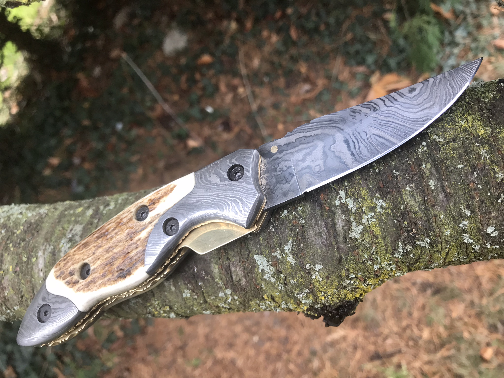 bush craft knife handmade damascus steel pocket knife stag antler handle 1187