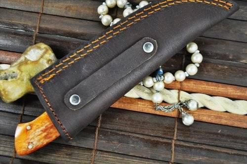 Handmade Damascus Hunting Knife with Natural Bone Handle