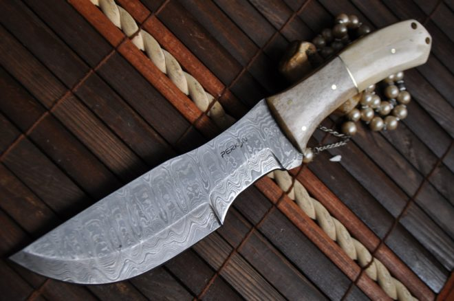 Damascus Steel Tracker Knife with Sheath