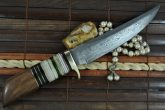 Handmade damascus steel fixed blade hunting knife with sheath