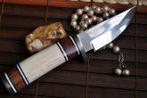 Handmade fixed blade hunting knife with sheath