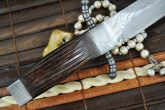 Hunting knife fixed blade knife damascus steel and leather sheath