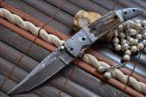 Damascus steel pocket knife folding knife with lock
