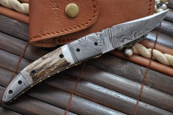 Damascus Folding Pocket Knife With Linear Lock