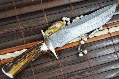 Handmade Damascus Hunting Bowie Knife With Sheath