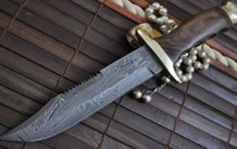Handmade Damascus Steel Hunting Knife Turquoise & Mosaic Pins Handle