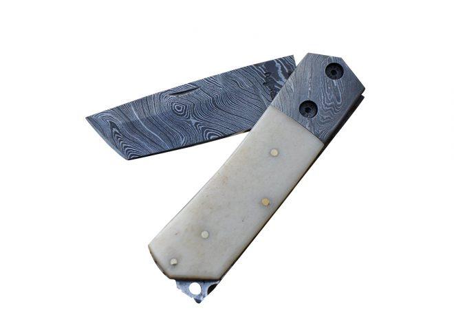 Damascus Steel Folding Knife - Pocket knife-Tanto blade