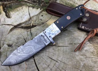 9 Inches Damascus Steel Hunting Knife With Leather Sheath