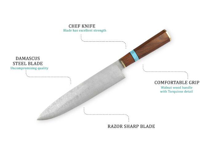 15.5 Full Tang Damascus Steel Chef Knife