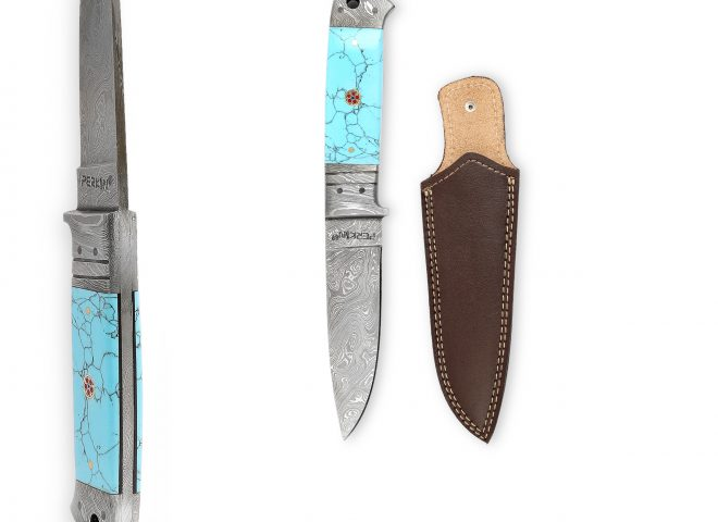 Perkin - H510 | Damascus Steel Knife | 9.0 inches Hunting Knife with Leather Sheath