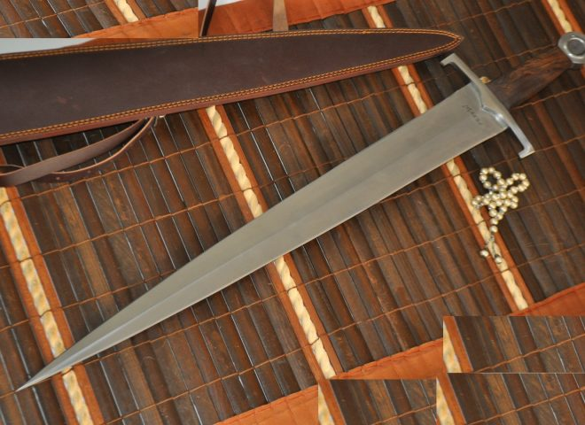 Long Handmade Hunting Knife with Leather Sheath 36.5 inches