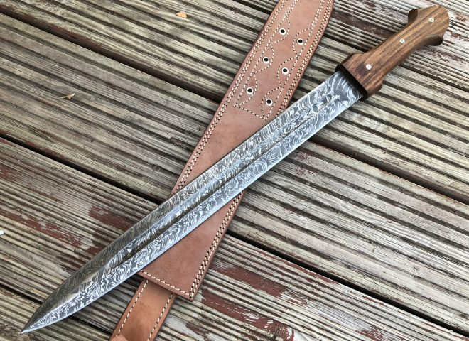 Perkin - FST1 - Damascus Steel Knife - 24 Inches Fixed Blade Hunting Knife Sword