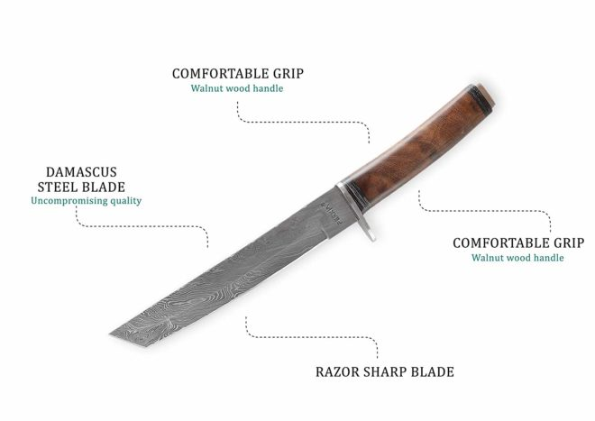 Tanto Blade Damascus Hunting Knife