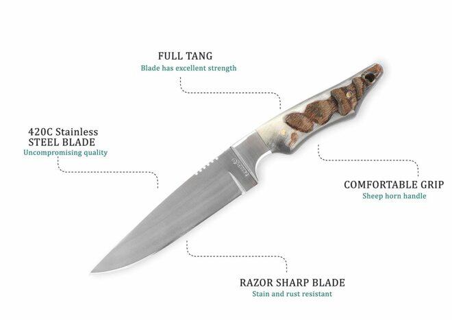Perkin RM12 Handmade Hunting Knife with Sheath