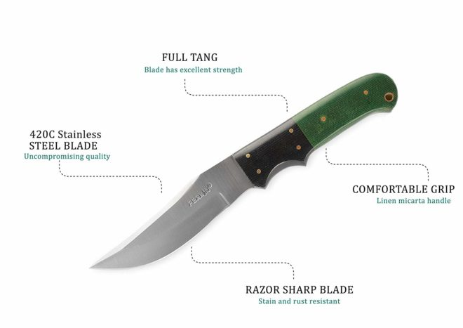 Perkin 5400 Fixed Blade Hunting Knife with Sheath