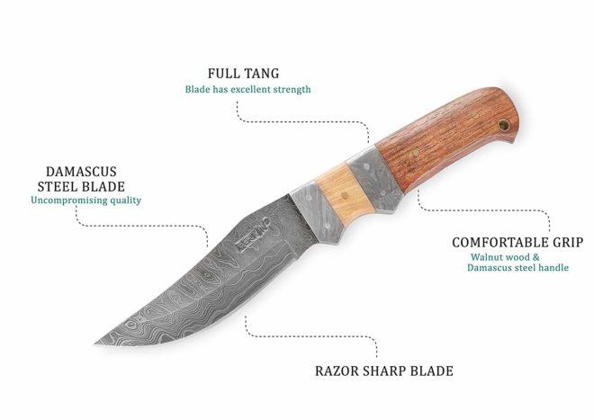 Perkin HK899 Damascus Steel Hunting Knife with Sheath